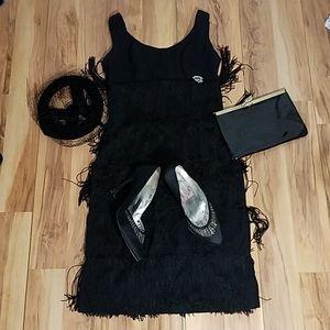 Vintage 1960s Flapper Style Mini Dress XS